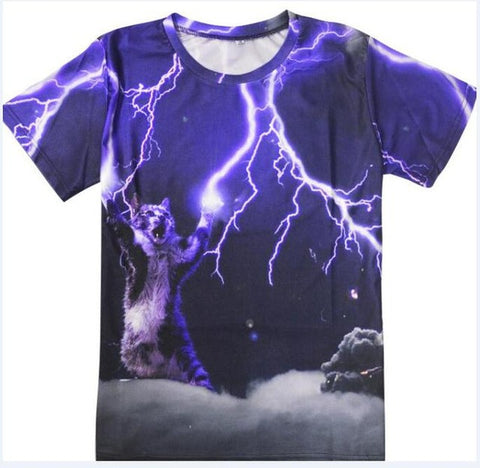 3D Printed Cat T Shirts Lightning Kitty