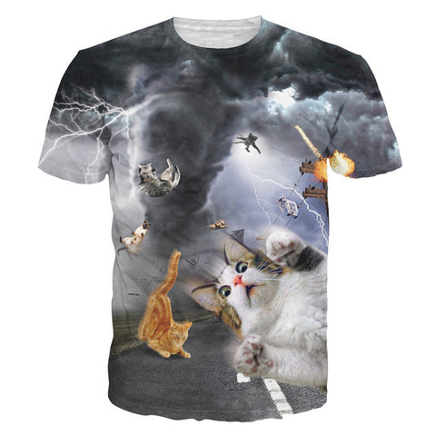 3D Printed Cat T Shirts Tornado Cats
