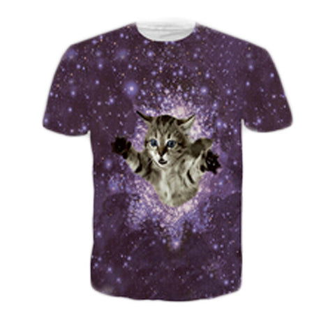 3D Printed Cat T Shirts Purple Nebula Stars