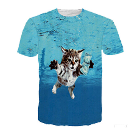 3D Printed Cat T Shirts Cat Cobain Nevermind
