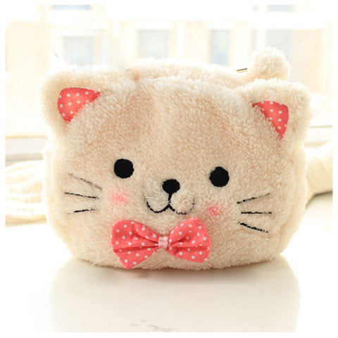 Plushie the Cat Soft Plush Zipper Makeup Bag