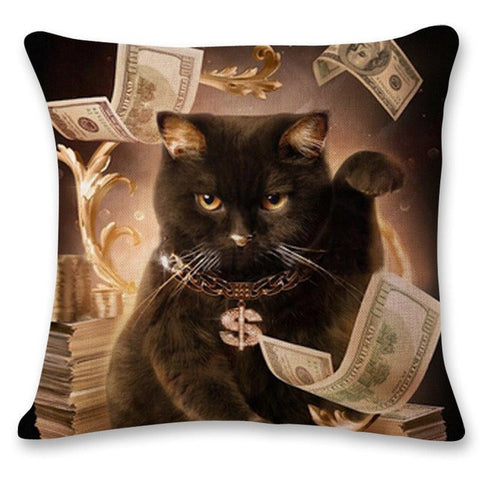 Cash Money Cat Pillow