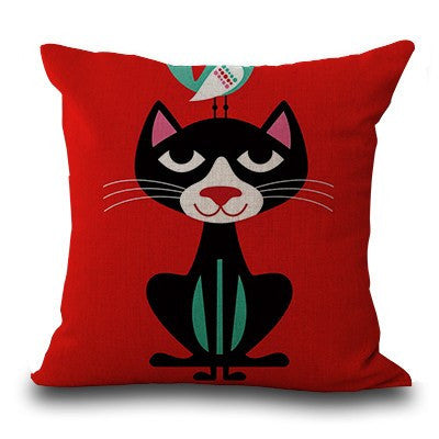 Cat Bird Besties Pillow