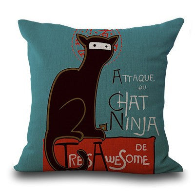 Ninja Kitty Francaise Pillow