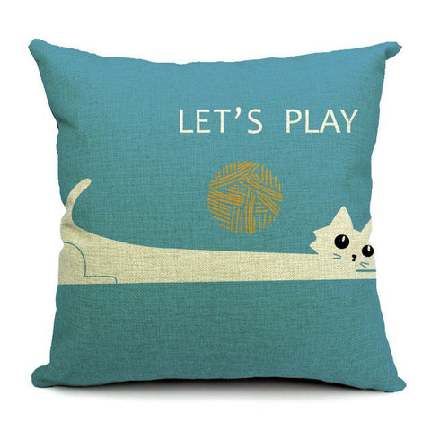 Let's Play Ball Cat Pillow