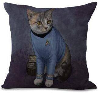 Catpan Kirk Starship Pillow