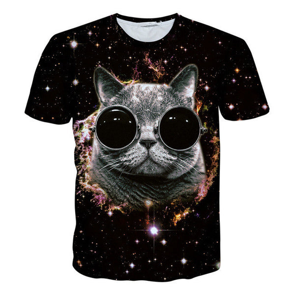 3D Printed Cat Tee Shirt Night Sky