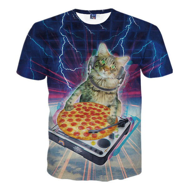 3D Printed Cat Tee Shirt DJ Pizza Cat
