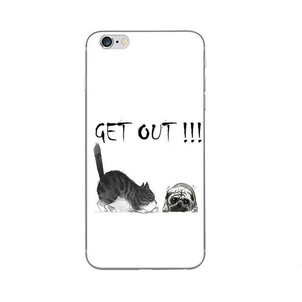 Get Out!!! Phone Case For Apple iPhone 5 5C SE 6 6S Plus Back Cover 4.7 5.5 Inch Soft TPU Shell Cellphone Funny Fat Cat Design Painted