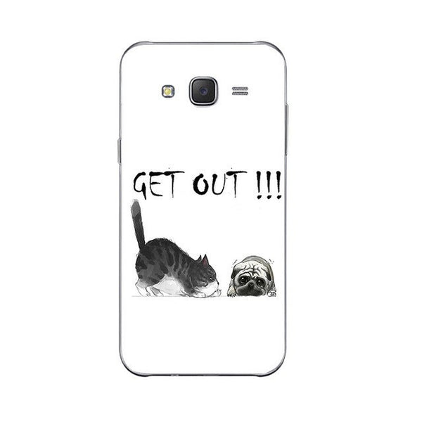 Get Out!!! Phone Case For Samsung Galaxy J3 J5 J7 (2016) Back Cover Grand Prime G530 Shell Soft TPU Cellphone Funny Fat Cat Design Painted