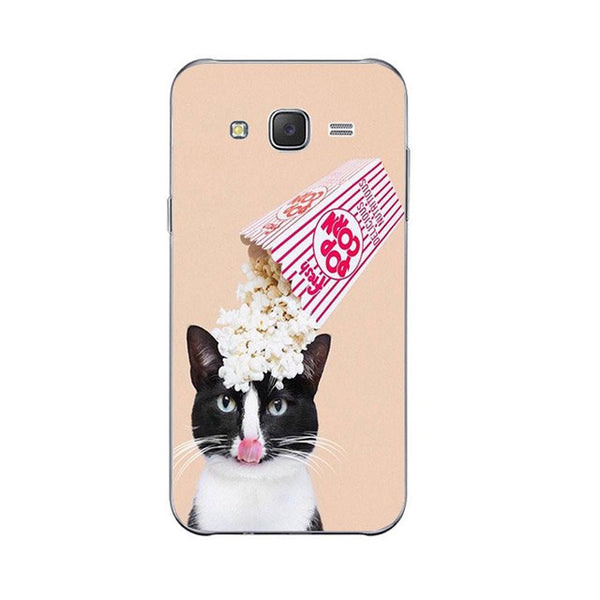I love Popcorn Phone Case For Samsung Galaxy J3 J5 J7 (2016) Back Cover Grand Prime G530 Shell Soft TPU Cellphone Cute Funny Cat Design Painted