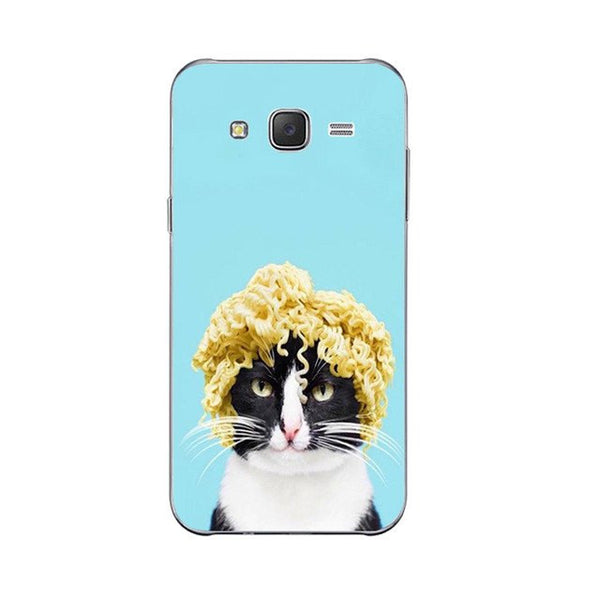 Mr. Noodles Phone Case For Samsung Galaxy J3 J5 J7 (2016) Back Cover Grand Prime G530 Shell Soft TPU Cellphone Cute Funny Cat Design Painted
