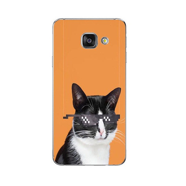 So 80s Phone Case For Samsung Galaxy A3 A5 A7 (2016) A8 A9 Back Cover Note 4 5 7 Soft TPU Shell Cute Funny Cats Design Painted