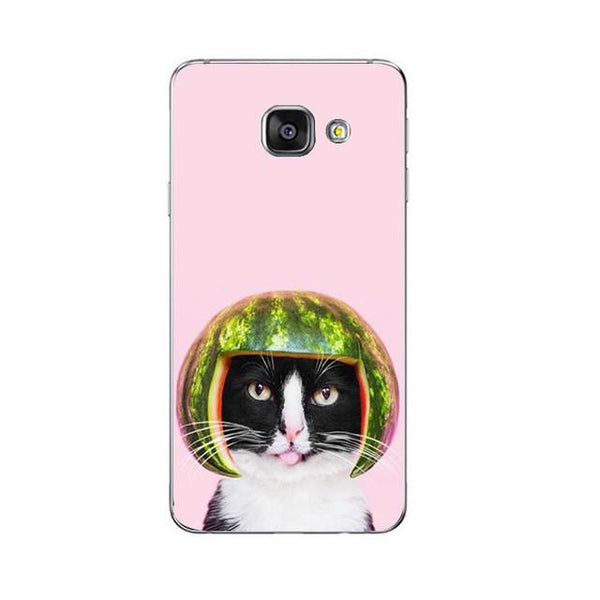 Mrs. Melonhead Phone Case For Samsung Galaxy A3 A5 A7 (2016) A8 A9 Back Cover Note 4 5 7 Soft TPU Shell Cute Funny Cats Design Painted
