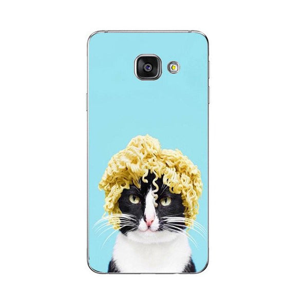 Mr. Noodles Cell Phone Case For Samsung Galaxy A3 A5 A7 (2016) A8 A9 Back Cover Note 4 5 7 Soft TPU Shell Cute Funny Cats Design Painted
