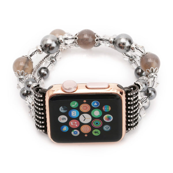 Women's Smoke Agate Stretch Bracelet for Apple Watch Band for iWatch 42mm 38mm Sizes