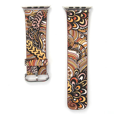 Black and Tan Tapestry Printed Leather Watch Band Strap for Apple Watch