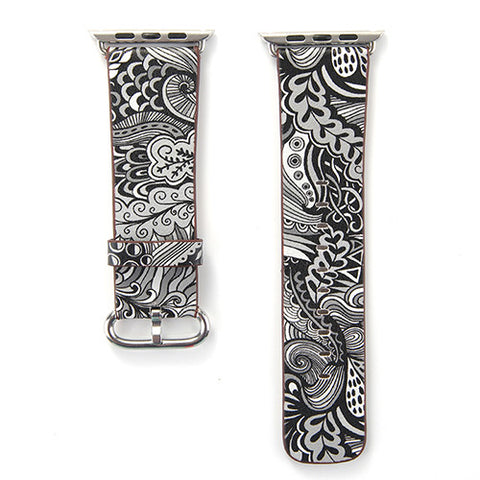 Black and White Tapestry Printed Leather Watch Band Strap for Apple Watch
