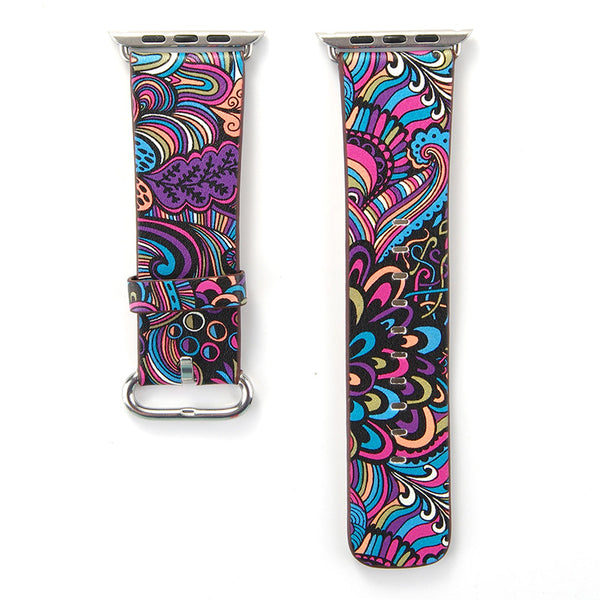 Rainbow Tapestry Printed Leather Watch Band Strap for Apple Watch