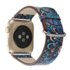 Blue Tapestry Printed Leather Watch Band Strap for Apple Watch