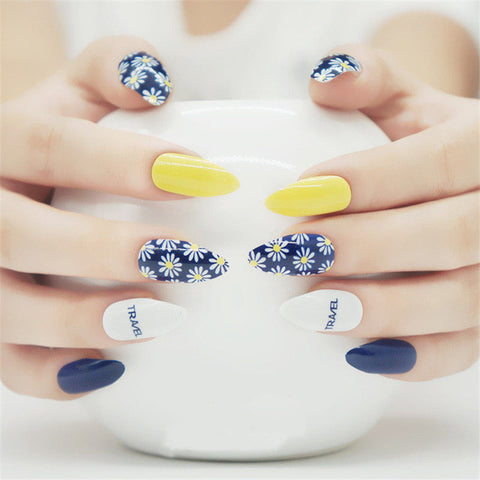 Daisy Blue Stylish Stiletto Nails