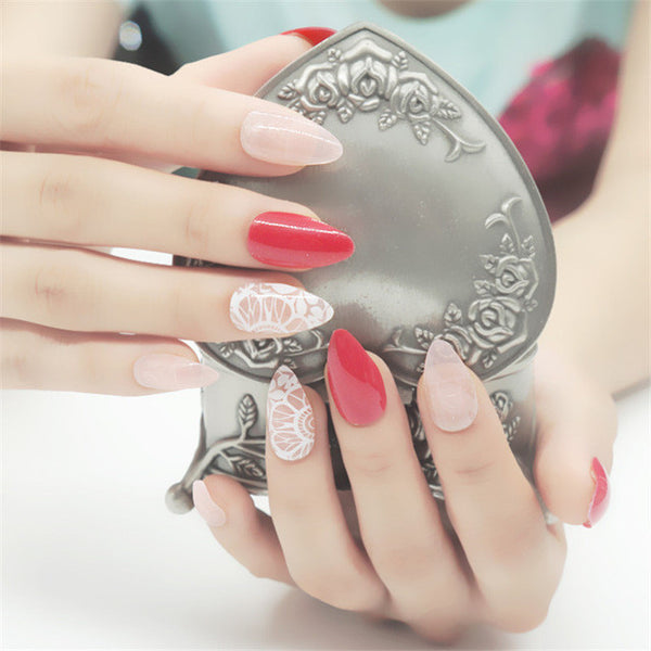 Pink and Lace Stylish Stiletto Nails