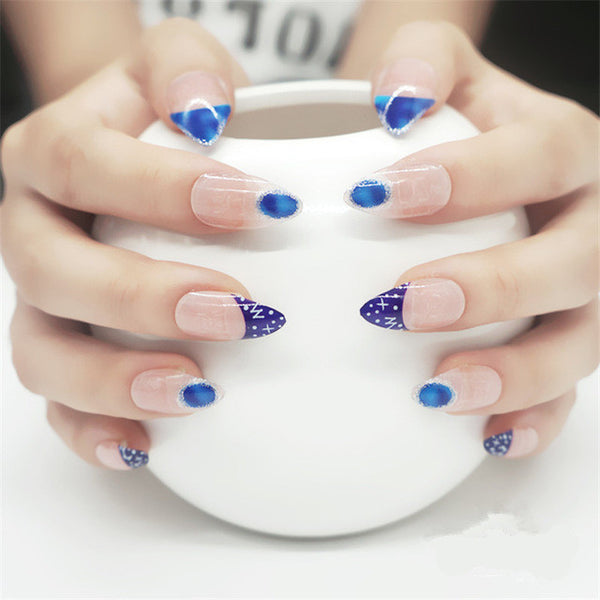 Blue Sky Stylish Stiletto Nails