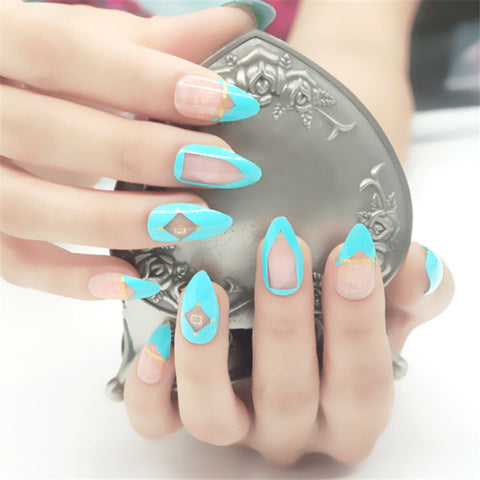 Blue Ocean Stylish Stiletto Nails