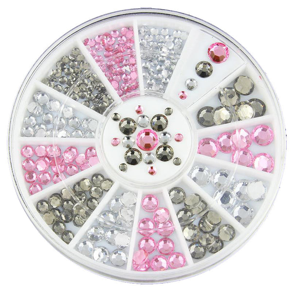 Nail Art Rhinestones Pink White and Grey decorations