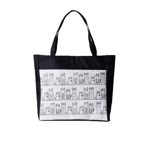 Cats in Black and White Canvas Tote