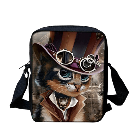 Steampunk Cat Print Messenger Bag