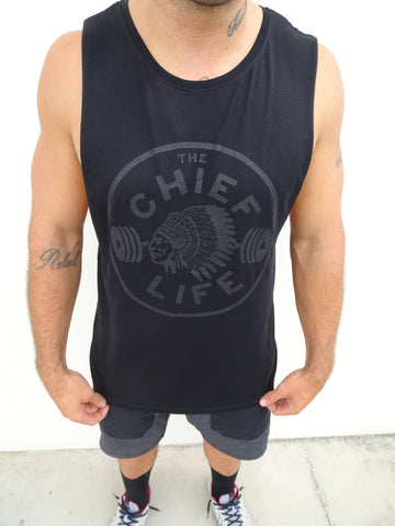 Unisex Black on Black Muscle Tee