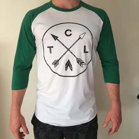 Unisex Raglan 3/4 Tee White/Green w Black Arrow TCL