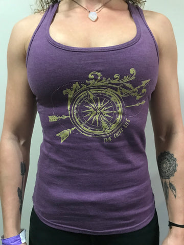 Purple with gold compass