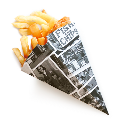 Retro Newsprint Fish & Chips Cone