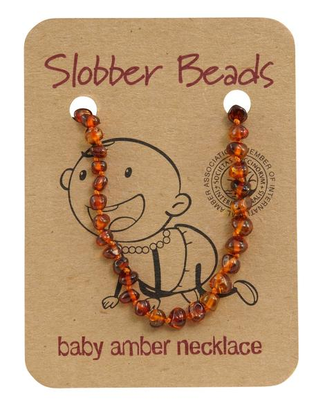 Slobber Beads - Baby Necklace - Round Cognac
