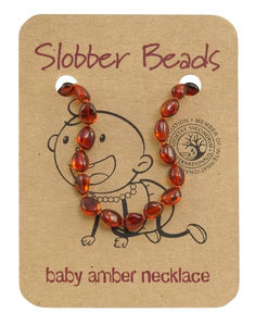 Slobber Beads - Baby Necklace - Oval Cognac