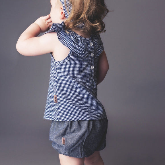 Love Henry - Baby Girls Gathered Pilcher Shorts - Dark Chambray