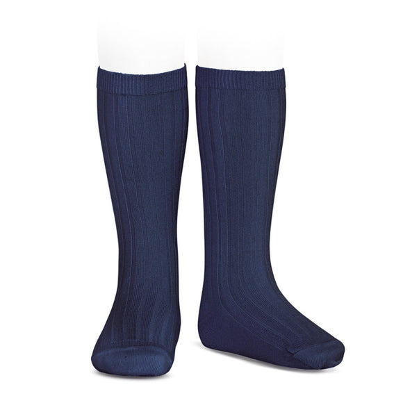 Condor - Knee High Ribbed Socks - Navy #480