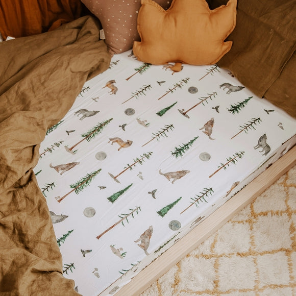 Snuggle Hunny Kids -Fitted Jersey Cot Sheet - Alpha Wolf