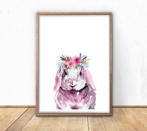 Ink & Ivy - A4 Print - Pink Bunny with Flower Crown