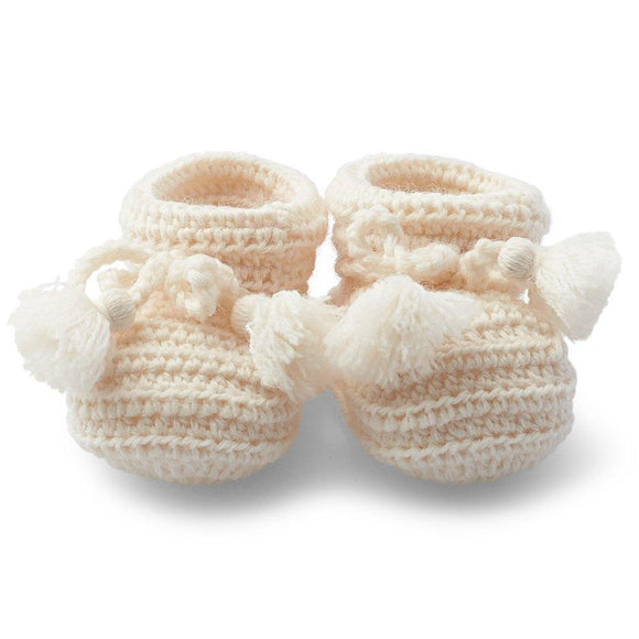 Baby Booties -Vanilla Pure wool - Hand Crochet