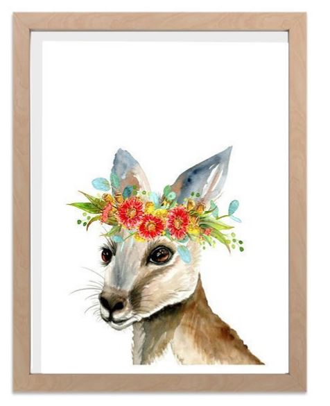 Ink & Ivy - A4 Print - Kangaroo with Flower Crown