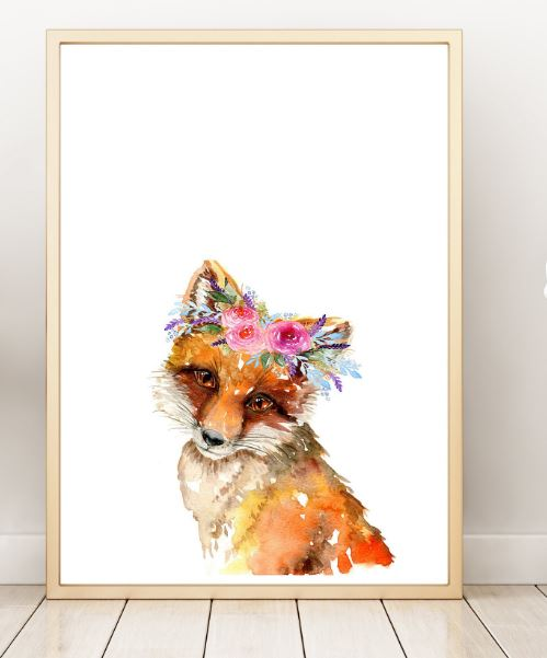 Ink & Ivy - A4 Print - Fox with Flower Crown