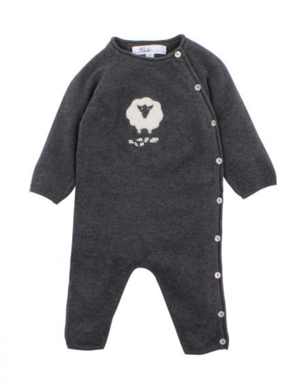 Bebe - Sheep Knit Romper - Charcoal