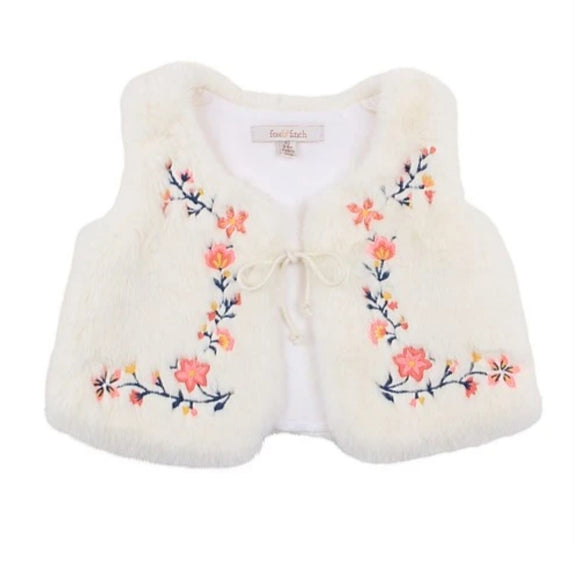 Fox & Finch - Handmade Embroidered Vest - Cloud