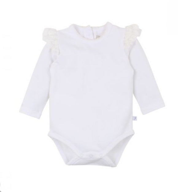 Fox & Finch - Netting Ruffle Body Suit - Cream