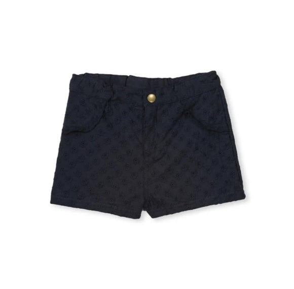 Milky - Girls - Navy Broderie Shorts - Midnight Blue