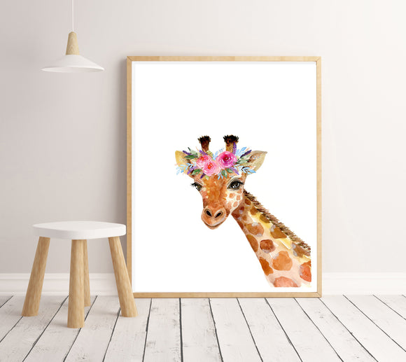 Ink & Ivy - A4 Print - Giraffe with Flower Crown