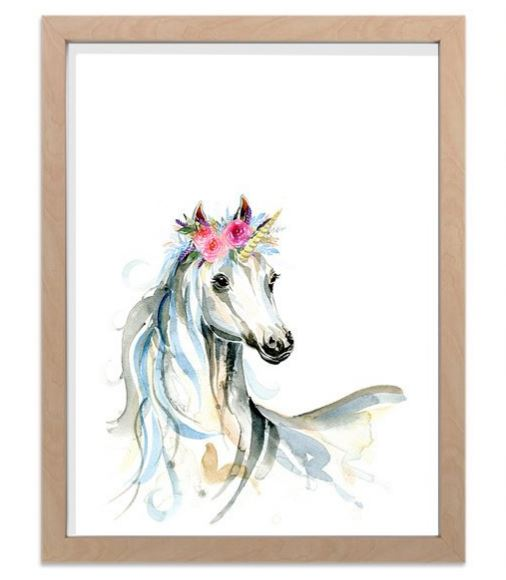 Ink & Ivy - A4 Print - Unicorn with Flower Crown